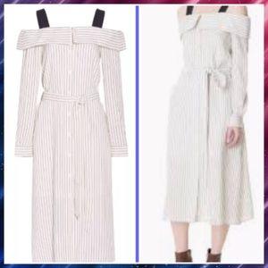 TIBI pin striped off shoulders button down dress
